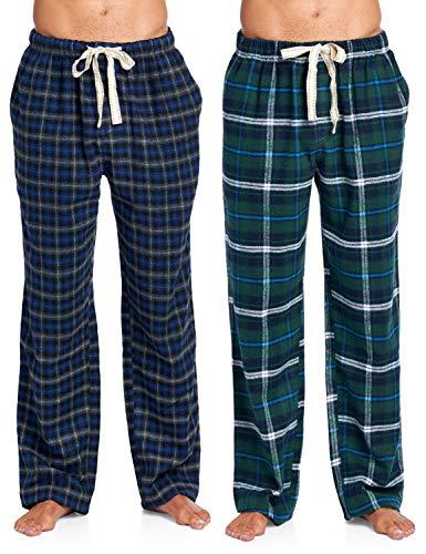 Ashford & Brooks Mens Soft Flannel Plaid Pajama Sleep Pants 2 Pack - Navy Green/Black Charcoal - X-Large