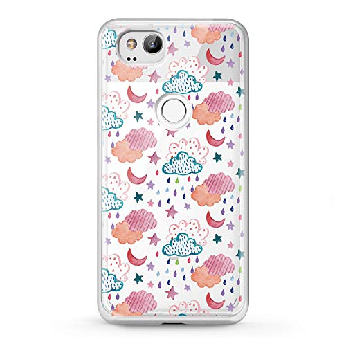 (Lex Altern TPU Case Google Pixel 2 3 XL 2016 Clouds Abstract Clear Heaven Weather Pink Design Phone Pattern Shiny Stars Cover Climate Print Transparent Protective Raining Lightweight Soft Silicone)