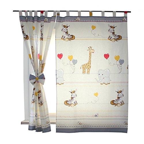 2er Set Gardinen Kinderzimmer Vorhänge mit Schlaufen und Schleifen 155x95 cm Dekoschal Schlaufenschal , Farbe: Tiere Grau, Größe: ca. 155x95 cm