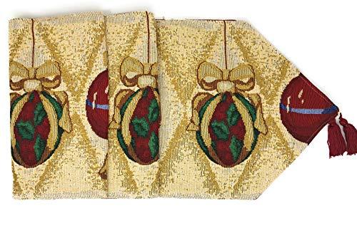 DaDa Bedding Elegant Ornaments Table Runner - Festive Christmas Red Golden Beige Tapestry - Cotton Linen Woven Dining Mats (6139) (13x72) -