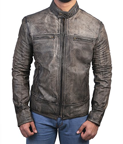 BzPath Cafe Racer Distressed Wax Men's Biker Vintage Triple Stitch Style Motorcycle Leather Jacket (3XL) (3xl Leather Motorcycle Jacket)