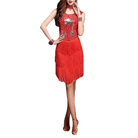 Vestido de baile Mujeres flecos borlas salón de baile Samba Tango ...