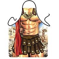 G2PLUS New Hot Man Delantal de cocina Sexy para hombres Divertido delantal de cocina Cocina creativa Asar a la parrilla delantales para regalos (1PC Guerrero romano)