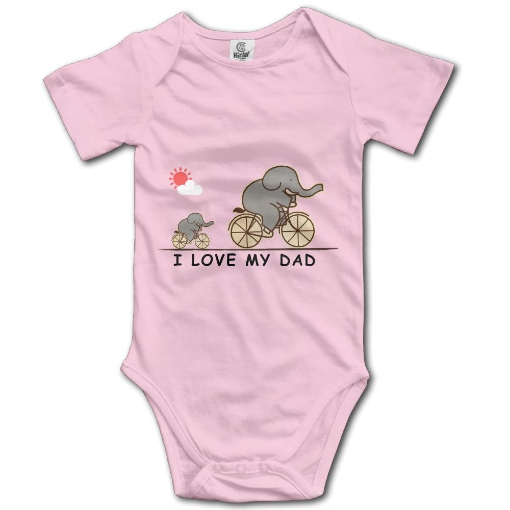 KingFong Elephant I Love My Dad Short Sleeve Infant Baby Girl Clothes Onesies Bodysuit Romper One Piece Unisex