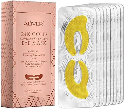 24K Caviar Collagen Gold Eye Masks with Hyaluronic Acid,Treatment Pads for Puffy Eyes & Bags Reducing Dark Circles, Anti-Wrinkle Anti-Aging Hydrating Under Eye Patches(10 Pair) (Yellow)