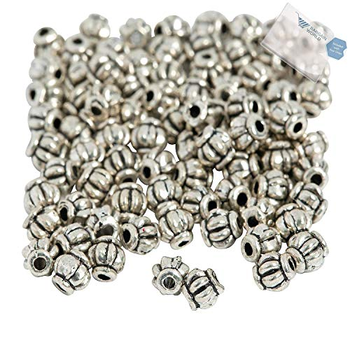 (Bargain World Silvertone Lantern Spacer Beads - 5mm (With Sticky Notes))