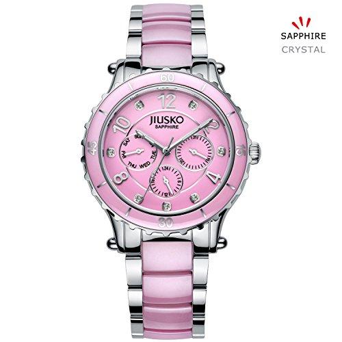 Jiusko Women's 83LSP04 Multifunction Quartz 24 Hr Stainless Steel Pink Ceramic Dress Wrist Watch