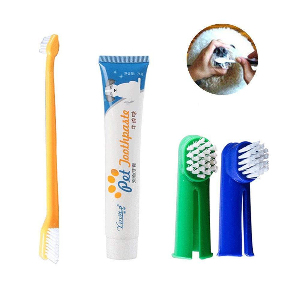 (4 Pcs) Kit de Cepillo de Dientes de Dedo para Perros, Set Higiene Dental, Pasta Y Cepillos para Todas Las Mascotas, Gatos (Sabor de Carne De Vaca) Leegoal