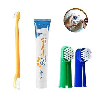 (4 Pcs) Kit de Cepillo de Dientes de Dedo para Perros, Set Higiene