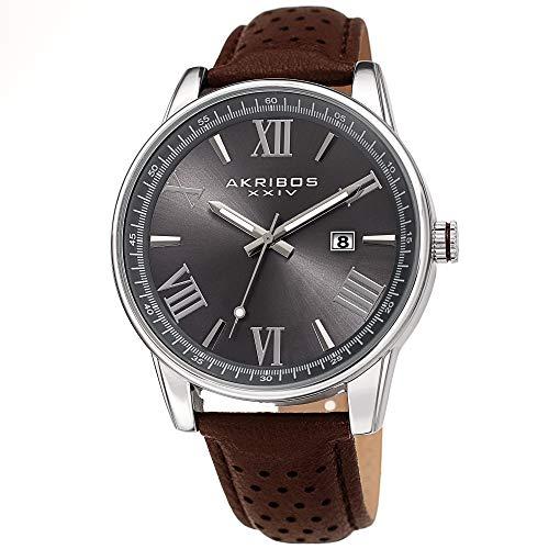 Akribos XXIV Leather Men's Watch – Classic Round Roman Numeral Sunburst Dial, Perforated Matt Leather Brown Strap, Japanese Quartz - AK1048GNBR ()