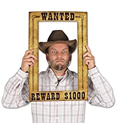"""Beistle 52158 Western Wanted Photo Fun Frame, 15.5"""" x 23.5"""", Multicolor"""