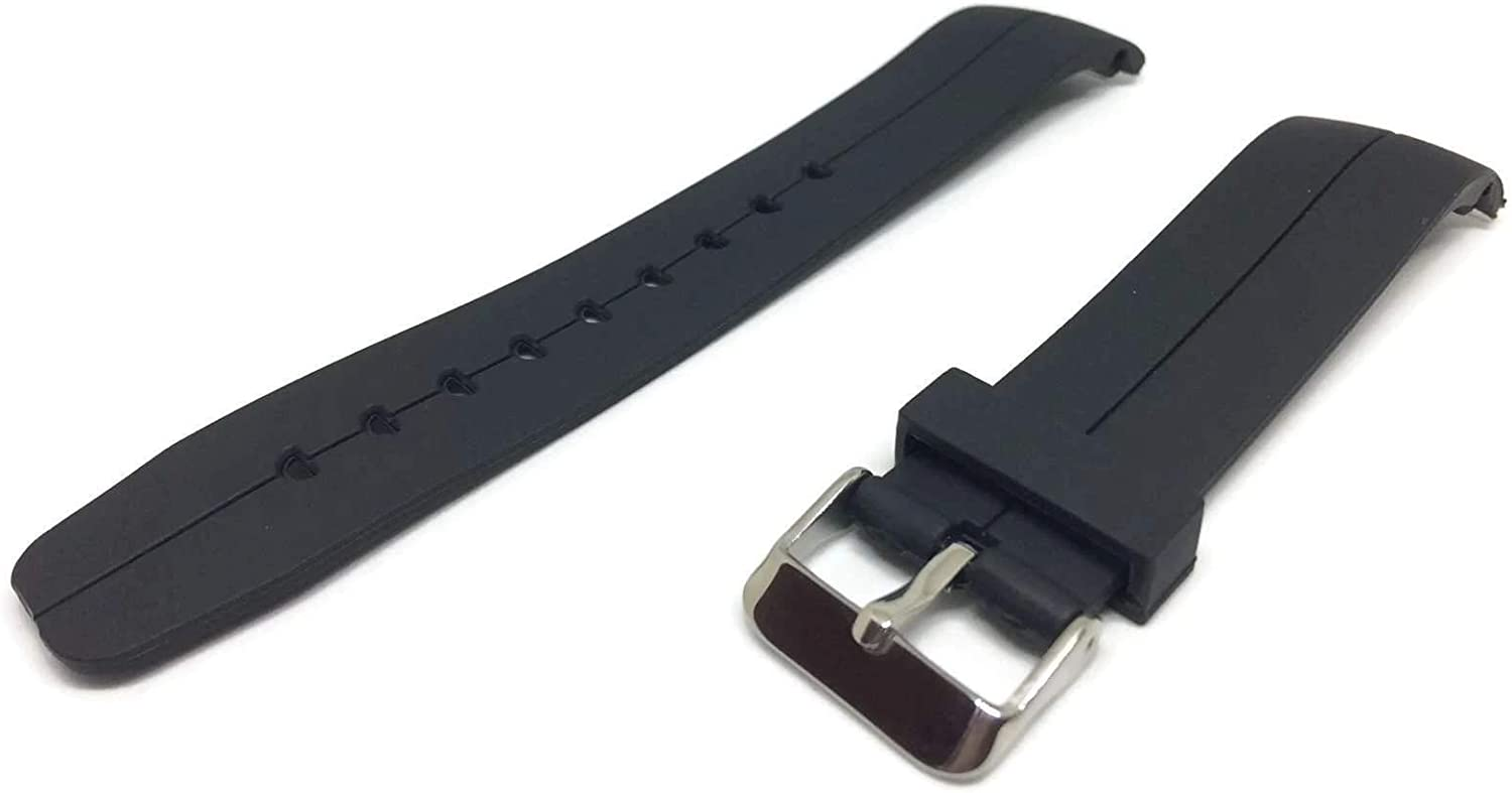 Black Rubber Watch Strap with Curved End and Stainless Steel Buckle 20mm and 22mm