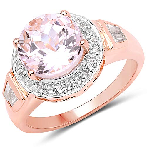 Bonyak Jewelry Genuine Round Kunzite and White Topaz Ring in Sterling Silver - Size 7.00
