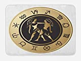 Ambesonne Zodiac Gemini Bath Mat, Birth Fortune and Prediction Cosmic Themes Circular Design Twins, Plush Bathroom Decor Mat with Non Slip Backing, 29.5 W X 17.5 W Inches, Sand Brown Black White