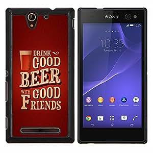 YiPhone /// Prima de resorte delgada de la cubierta del caso de Shell Armor - Texto del cartel de la cerveza Amigos de Brown - Sony Xperia C3