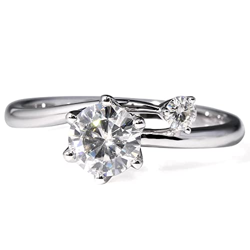 transgems 1 Carat diamante de laboratorio crecido Moissanite dos piedra anillos de boda 14 K oro