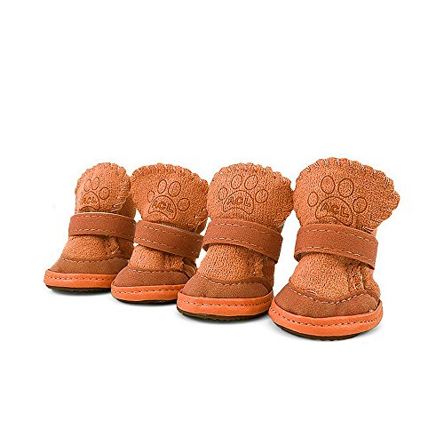 Boots Dog Skid (Asobilor Dog Shoes Booties Breathable Paws Protector Anti-Skid Dog Boots with Adjustable Strap Pet Winter Warm Snow Boots for Chihuahua Teddy Bomei Maltese Dog YorkshireTerrier (Size4, Brown))