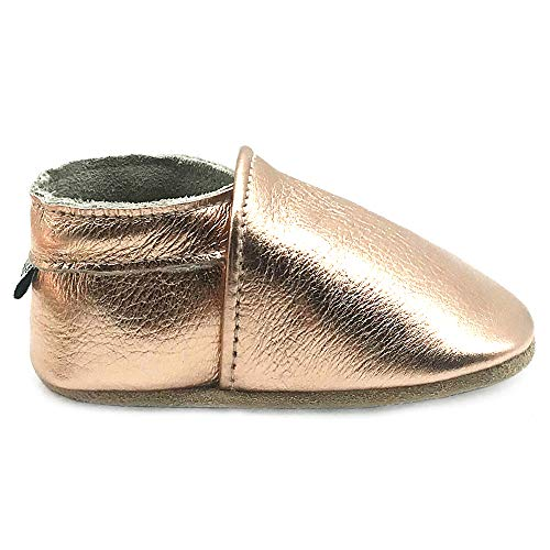 Owlowla Baby Soft Sole Leather Crib Shoes Infant Toddler Pre-Walker Shoes Boy Girl(F-Rose Gold,US6.5) ()