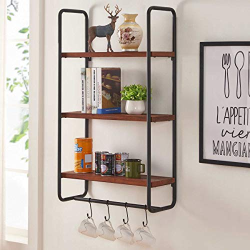3 Shelf Wall - BON AUGURE Solid Wood Wall Shelves with Hooks, 3-Tier Shelf Wall Mounted for Kitchen Bathroom Bedroom and Office, Rustic Entryway Hanging Shelf Unit (Walnut)