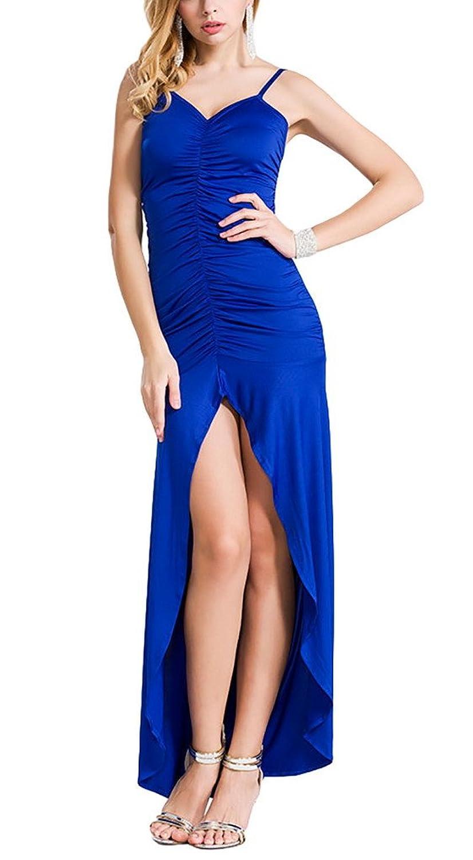 Aivtalk Damen Ohne Arm Rückenfrei Maxi Falten Abendmode Cocktailkleid Partykleid mit Trägern - Blau