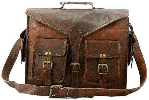 """DHK 18"""" ABB HANDMADE VINTAGE LEATHER MESSENGER BAG FOR LAPTOP AND OTHER ACCESSORIES BRIEFCASE SATCHEL BAG"""