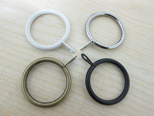 Confezione da 8 tende in metallo caffè asta anelli anelli per tende estensibile per pali da 16 – 19 mm (argento)