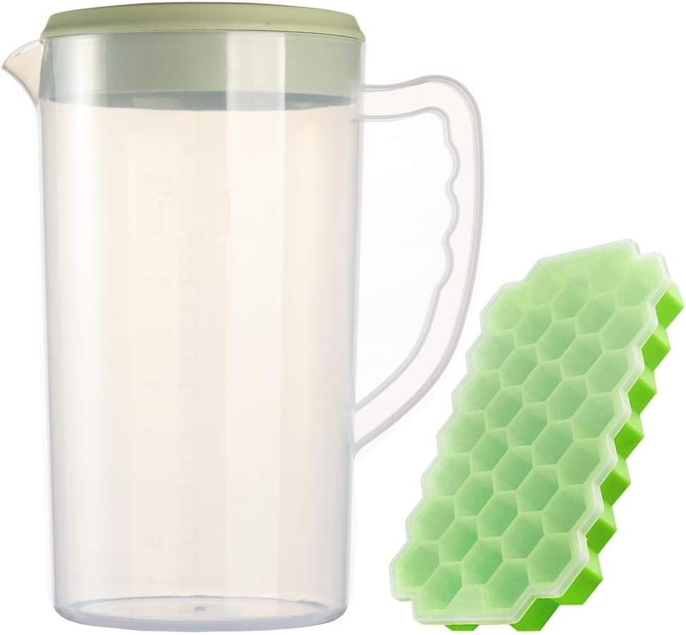 0.66 Gallon/2.5 Litre Plastic Pitcher with Lid/cover BPA-FREE Eco-Friendly Carafes Mix Drinks Water Jug for Hot/Cold Juice Beverage Ice Tea (84oz, Green Ice tray set)