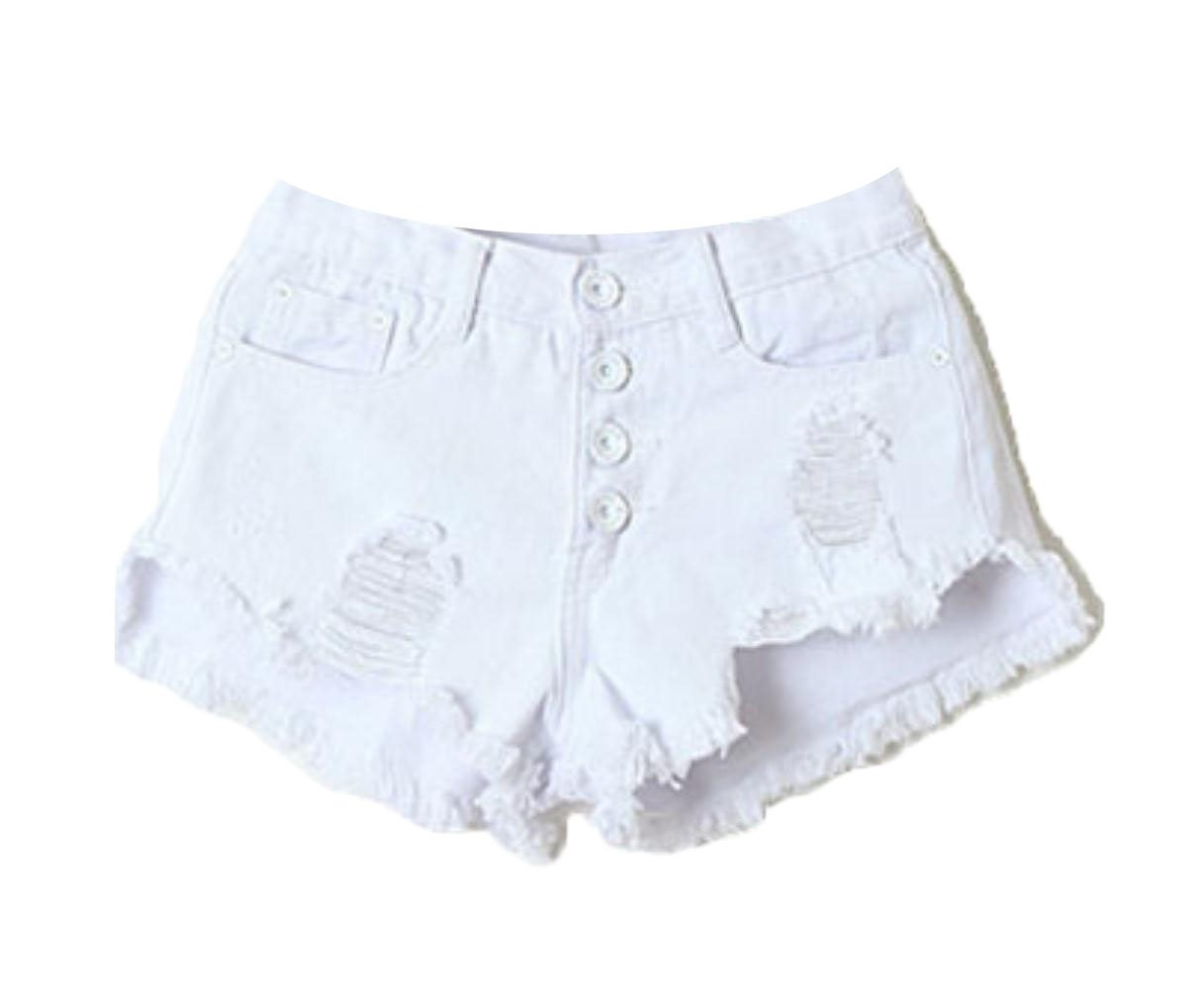 Buildhigh Womens Buckle Fringed Ripped Summer Hot Pants Individuality Jean Shorts White XS