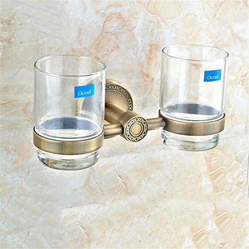 PQPQPQ European Style Bronze All Copper Pipe Antiquity Bathroom Pendant Suite Bathroom,Double - Antiquity Cup