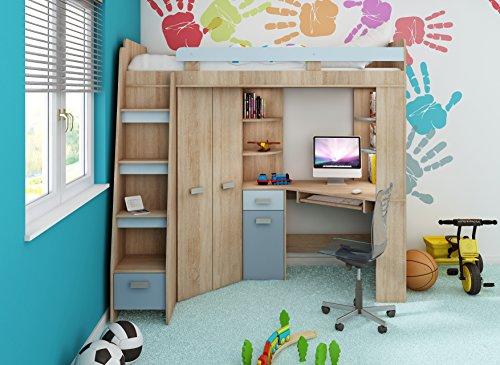 Etagenbett Mit Schrank Und Schreibtisch : Amazon hochbett etagenbett entresole alle in einer links