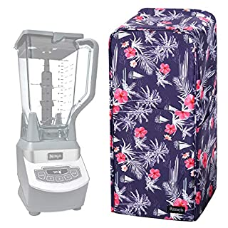 Blender Dust Cover with Accessory Pocket Compatible with Ninja Foodi (Medium, Flower-B)