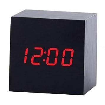 chtdz Termómetro Digital de Madera LED Reloj Despertador Contraluz Control de Voz Redes eléctricas USB Madera retroiluminada Reloj con Pantalla de ...