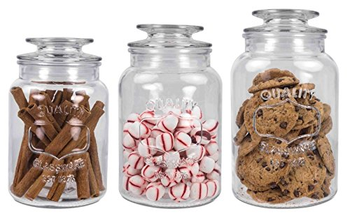 Simplicity and Classy Clear Glass Canister 3 Pieces Decorative Cookie Candy Jar Set Preserve Freshness and Minimize Cluster