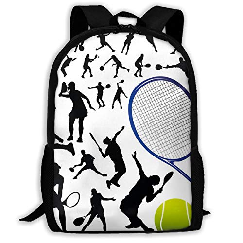 SARA NELL School Backpack,Tennis And Tennis Player School Bag Student Stylish Unisex Canvas Backpack Book Bag Rucksack Daypack For Teen Kids (Best Male Tennis Players Of All Time)