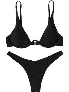 581822d600 Amazon.com: Womens Swimsuits 2 Pcs Brazilian Top Thong Bikini Set ...