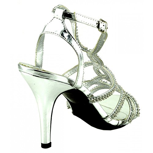 Kick Footwear - Ladies party sandals night out wedding sandals evening shoes silver 85GBlr93p