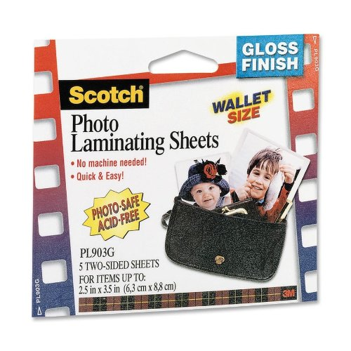 """Laminating Shts,Photo Safe,2-Sided,2-1/2""""x3-1/2"""",5/PK,CL, Sold as 1 Package"""