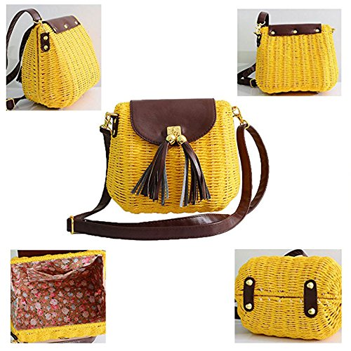 Summer Straw Purse Hasp Women Shoulder Pt4 Tassel Cover Bag Beach Bag Abuyall Willow 5qEtaRx5