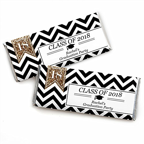 Custom Tassel Worth The Hassle - Gold - Personalized 2018 Graduation Party Favors Candy Bar Wrappers - Set of 24 (Bars Candy Graduation Personalized)