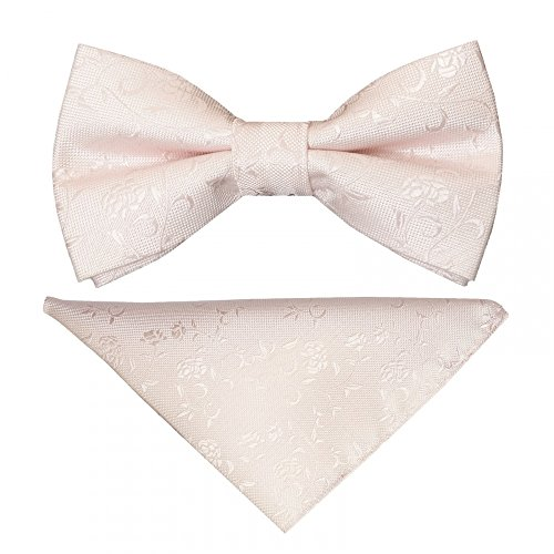 Set Square Floral Textured Pre and Tied Pocket Bow Blush Boys Tie q7wnZwg4v