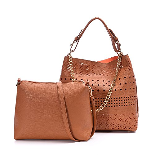 Handbags Leather Tote Bags Women Beach Boho Chic Hollow Crossbody Purses Pu Leather 2 Pieces