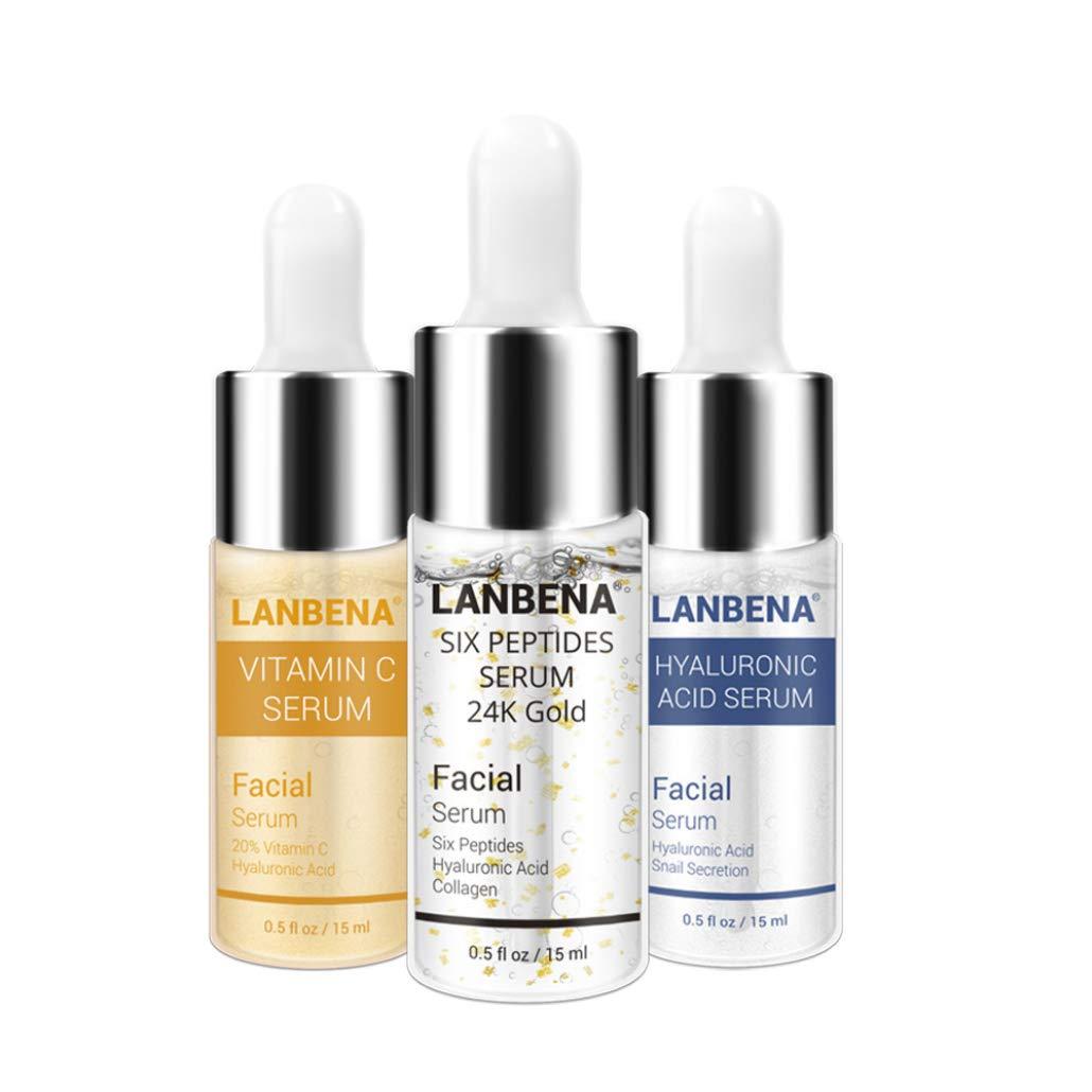 nulala Ácido hialurónico + VC stock + 24K oro hidratante para aclarar la piel Antienvejecimiento (3 botellas) Ltd.