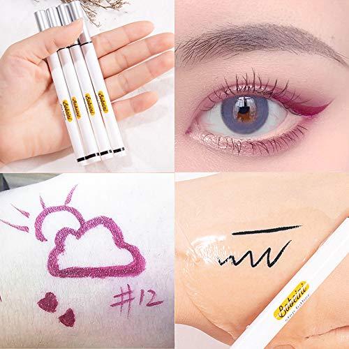 Eyebrow Tattoo Pencil with Eyeliner Pen, Drawing Eyebrow Pencil Eye Makeup Long Lasting Waterproof & Smudgeproof 3 pcs (Dark Brown/Brown/Pink purple)