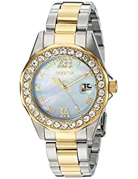 Invicta Women's Sea Base Gold-Tone Steel Bracelet & Case Swiss Quartz Blue Dial Analog Watch 20393
