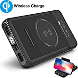 Wireless Charger Power Bank with Phone Stand,Attom Tech 10000mAh Qi Wireless External Battery Pack