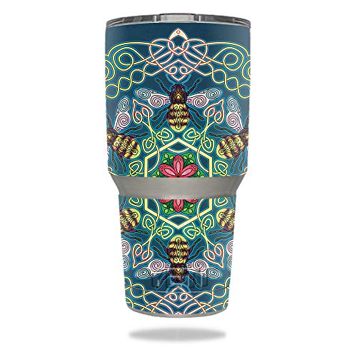 MightySkins Skin Compatible with YETI 30 oz Tumbler - Celtic Bees | Protective, Durable, and Unique Vinyl Decal wrap Cover | Easy to Apply, Remove, and Change Styles | Made in The USA