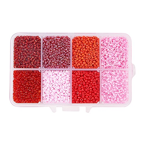 - Pandahall 1 Box (About 8000pcs) 12/0 Mixed Red Round Red Glass Seed Beads, 2mm