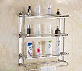 YAOHAOHAO Bath rooms bathroom shelving shelf stainless steel 3 Layer towel rack bathroom cosmetics storage rack (Size: 50cm).