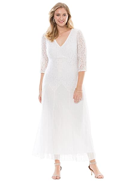 Victorian Edwardian Style Wedding Dresses, Shoes, Accessories Roamans Pisarro Nights Womens Plus Size Beaded Lace Dress by Pisarro Nights $215.56 AT vintagedancer.com