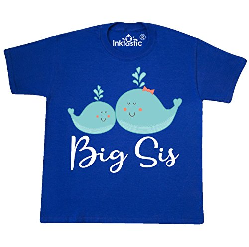 inktastic - Big Sister Girls Whale Youth T-Shirt Youth Small (6-8) Royal Blue